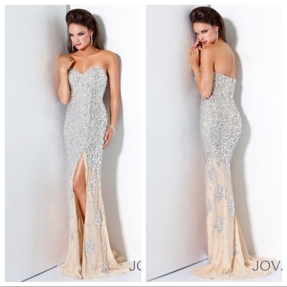 Jovani Dresses  4247 Strapless Nude Jeweled Prom Dress -2206